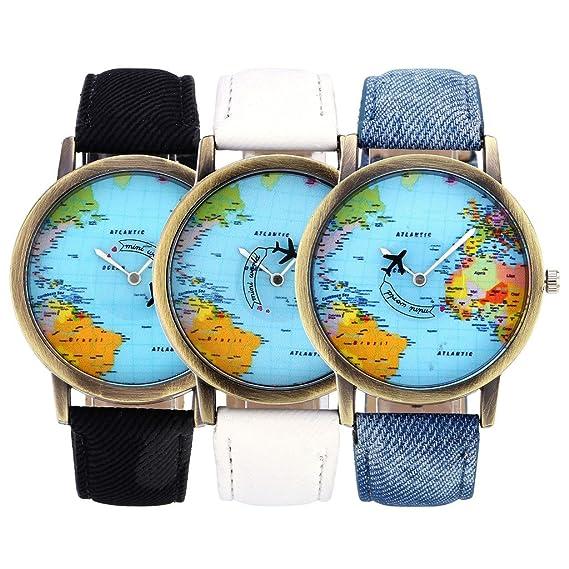 Watches Fashion# Global Travel By Plane Map Denim Fabric Band Watch Women Relogio Feminino 7 Colors Dress Watches Drop Shipping