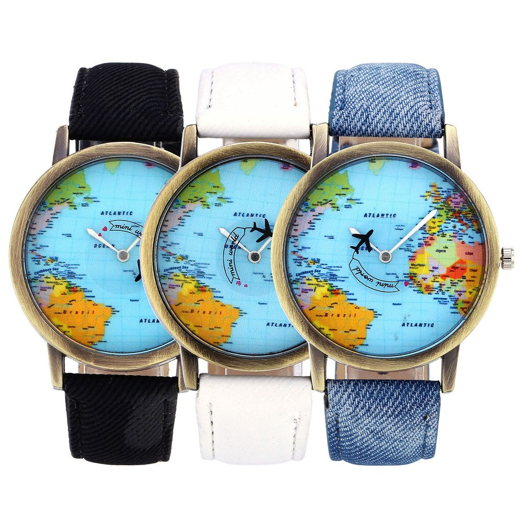 Top Plaza Womens Mens Rotating Airplane Global Travel World Map Watch PU Leather Band Quartz Watch 3pcs/Set