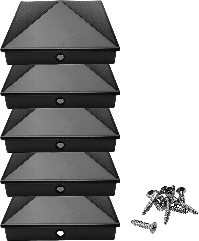Rostfrei Pfostenkappen 9x9 cm aus hochwertigem Aluminiumguss 10, Schwarz Abdeckkappe//Zierkappe | mit Edelstahl-Schrauben Pyramide 5er // 10er Pack pulverbeschichtet in 3 Farben