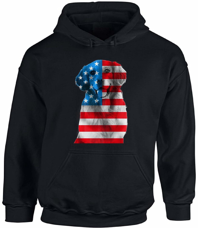 Awkward Styles Unisex USA Flag Golden Retriever Hoodie Hooded Sweatshirt Independence Day Gift