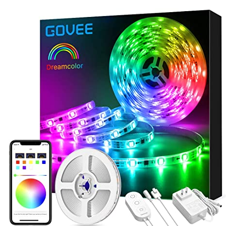 cheap for discount 425ca 13957 Govee Dreamcolor Led Strip Lights Music Sync, 16.4Ft Waterproof Phone  Controlled Color Changing Light Strip for Party, Room, Bedroom, TV, Kitchen  ...