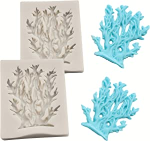HengKe 2 Pcs Coral Shaped Fondant Molds,Food Grade Safety Silicon Materials, DIY 3D Sea Creatures Candy Sugar Craft Silicone Baking Mould Pastry Cookie Cake Decoration Tools