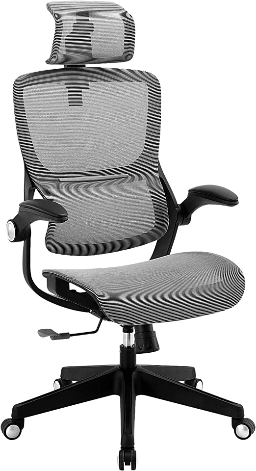 Amazon Com Office Chair Ergonomic Desk Chair High Back Mesh Computer Task Chair Swivel Stool Rolling Home Office Chair With Flip Up Arms Adjustable Lumbar Support Headrest 300lb Kitchen Dining