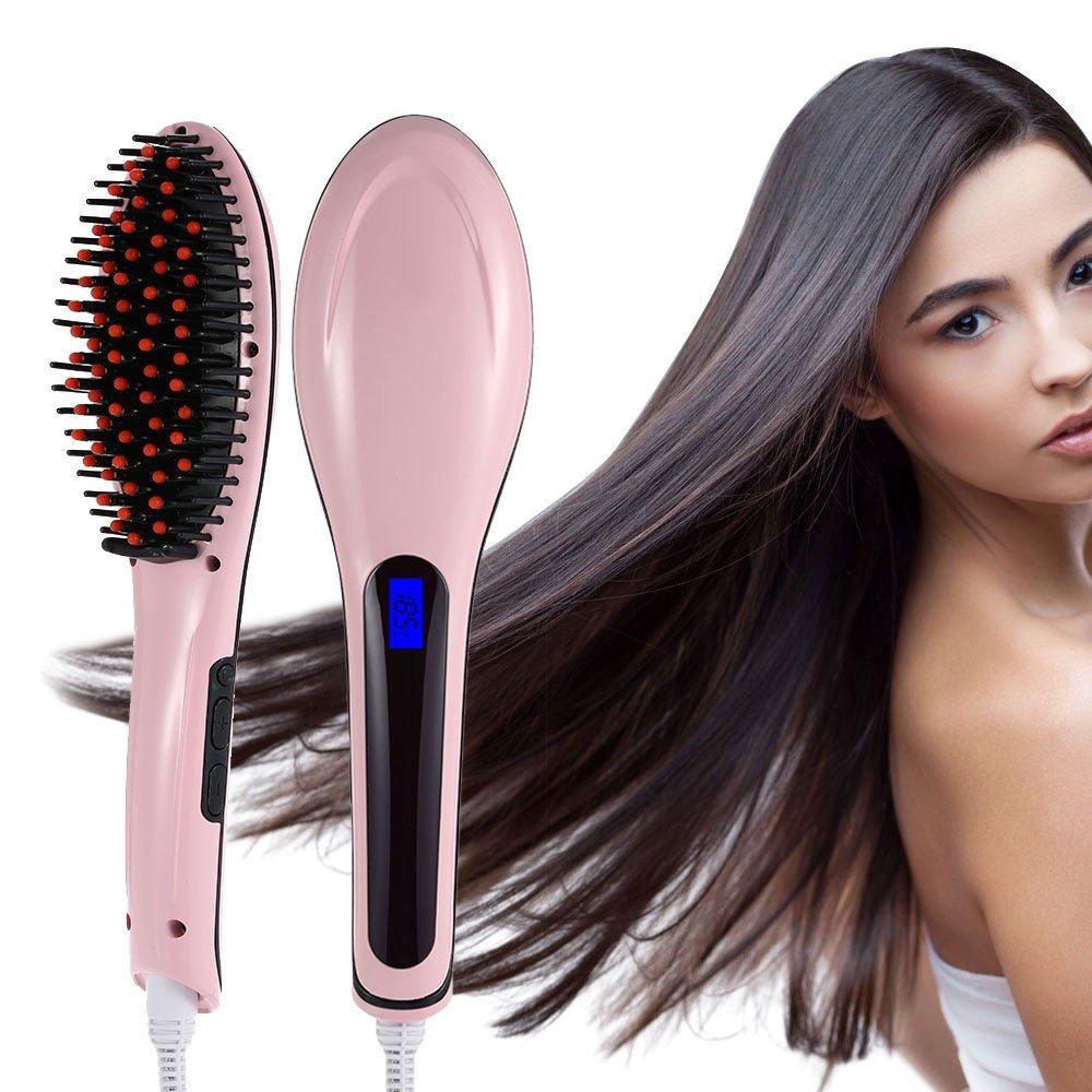 F-fook cepillo alisador de cabello, Besmall Digital Anti Estática cerámica alisador de cabello y automasajeador para un alisado más rápido enchufe ...