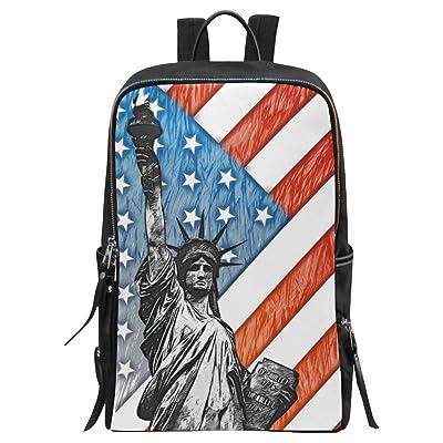 InterestPrint American Flag Liberty Statue School Casual Travel Backpack School Bag Travel Daypack