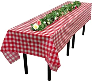 """Tosnail 15 Pack 54"""" x 108"""" Plastic Red and White Checkered Tablecloth Picnic Table Cover"""