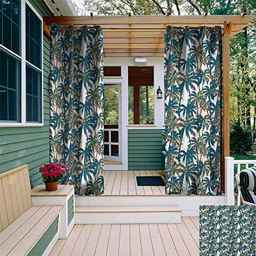 DONEECKL Outdoor Waterproof Curtain Palm Leaf Vintage Pattern with Trees Colorful Design Elements Exotic Dreamy Hawaii Insulated with Grommet Curtains for Bedroom W108 x L84 White Black Red