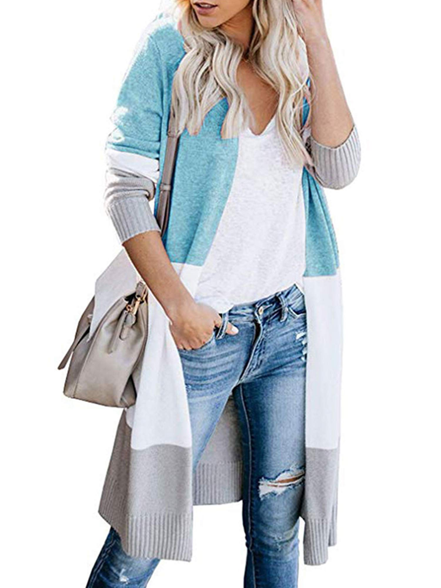 Womens Boho Open Front Cardigan Colorblock Long Sleeve Loose Knit Lightweight Sweaters (L, Light Blue)
