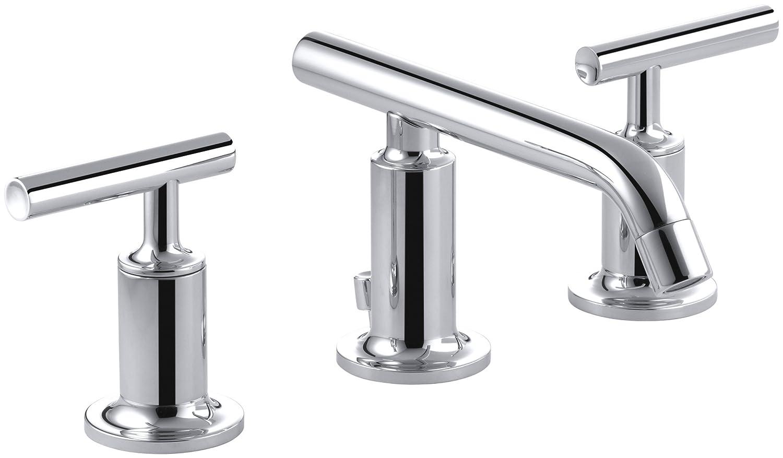 KOHLER K-14410-4-CP Purist Widespread Lavatory Faucet with Low Spout ...