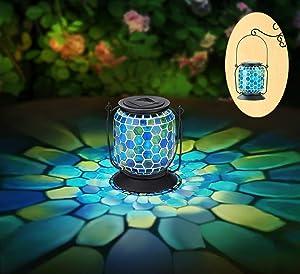 OhEffulgence Mosaic Solar Lantern Outdoor Hanging, Solar Table Lamps Decorative in Honeycomb Glass & Cool Blue Color, Solar Powered Waterproof Umbrella Lights, Garden,Patio,Pathway & Yard Decor, 6.5