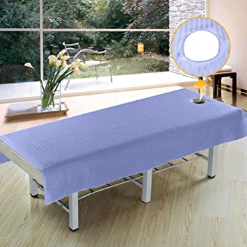 Superb Beauty Massage Bed Sheets With Hole, Waterproof And Anti Oil Soft Cotton  Stripe Salon