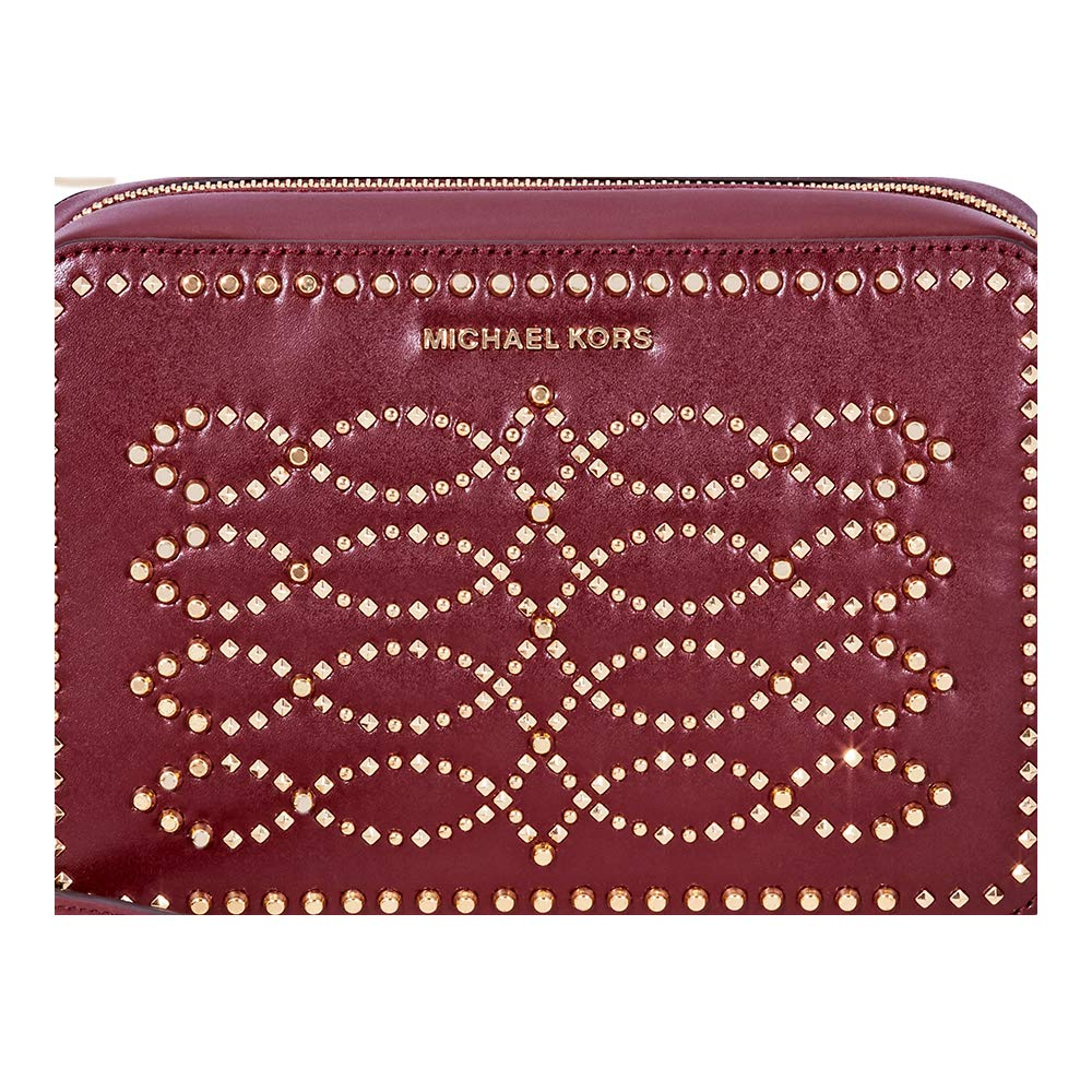 8cc54e023dd2 Michael Kors Ginny Medium Studded Leather Crossbody- Oxblood  Handbags   Amazon.com