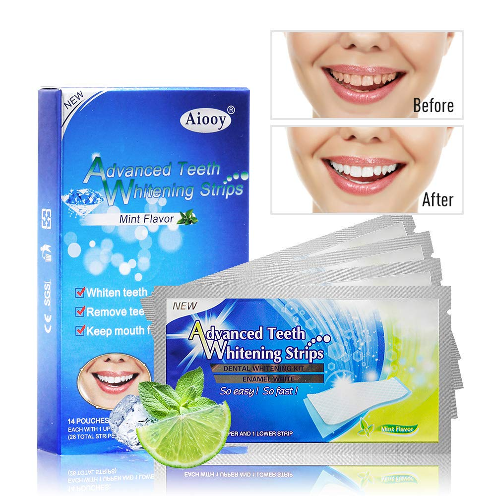 Aiooy 28PCS Teeth Whitening Strips Dental Enamel Safe Teeth Bleaching Treatment Non-Peroxide Advanced Double Elastic Gel Whitener Kit Professional Remover of Teeth Stain Mint Flavor product image
