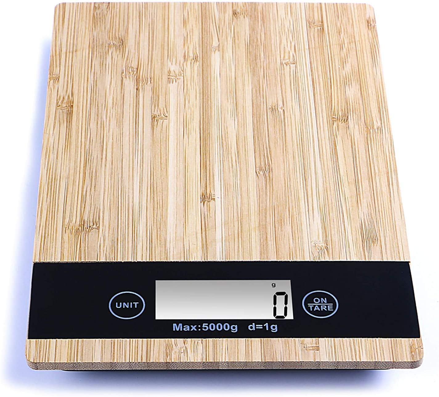 PRITECH - Báscula Digital de bambú Resistente para Cocina, Peso máximo 5Kg y Alta precisión, Auto Apagado y Función de Tara. PBP-153.