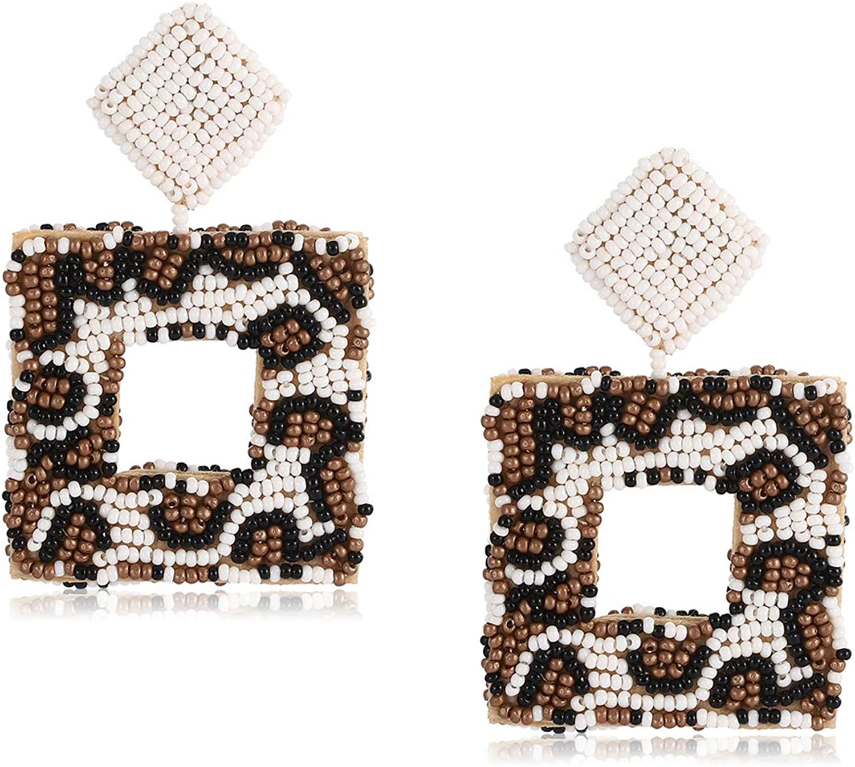Dangle Earrings Boho Chic Handmade Gift under 75 Leopard Print Seed Bead Fringe Earrings Casual Earrings Gift for her Ready to ship