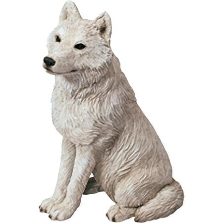Sandicast Mid Size Gray Arctic Wolf Sculpture, Sitting