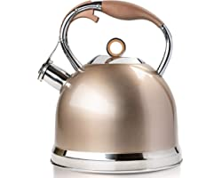 HIHUOS Tea Kettle 3 Quart induction Modern Stainless Steel Surgical Whistling Teapot - Pot For Stove Top (Champagne-gold)