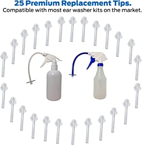 Ear Washer Replacement Tips 25 Count Value-Pack Disposable Fully Compatible with Doctor Easy™ Elephant, Rhino Ear Washer and Other Popular Kits with Luer Lock Cerumen Impaction Safe Treatment