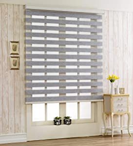 Foiresoft Custom Cut to Size, [Winsharp Woodlook 64, Grey, W 35 x H 64 inch] Zebra Roller Blinds, Dual Layer Shades, Sheer or Privacy Light Control, Day and Night Window Drapes, 20 to 110 inch Wide