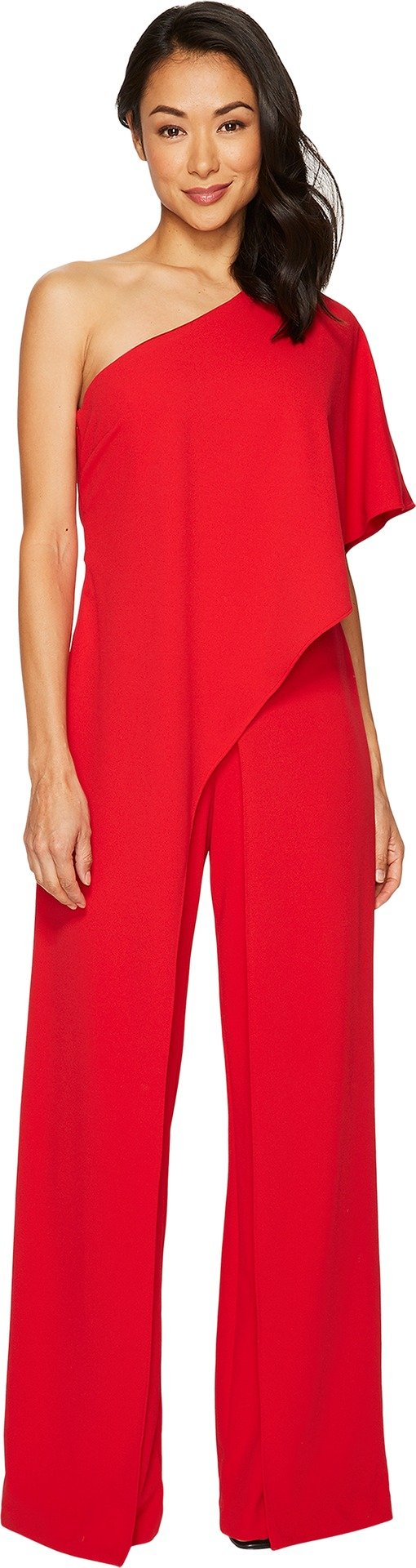 Adrianna Papell Women's One Shoulder Jumpsuit Red 12