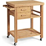 Giantex Kitchen Island, Bamboo Island Cart, Kitchen Trolley Cart on Wheels, Rolling Kitchen Cart, 2 Drawers, Towel Rack, Cast