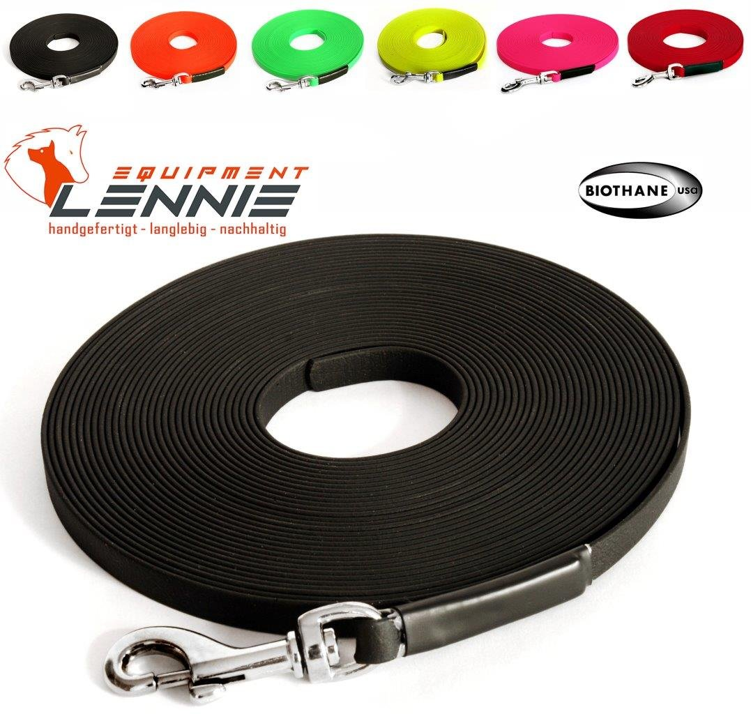 Extra leichte Schleppleine aus 19 mm Super Flex BioThane® / 1-30 Meter / 6 Farben / genäht / mit Handschlaufe