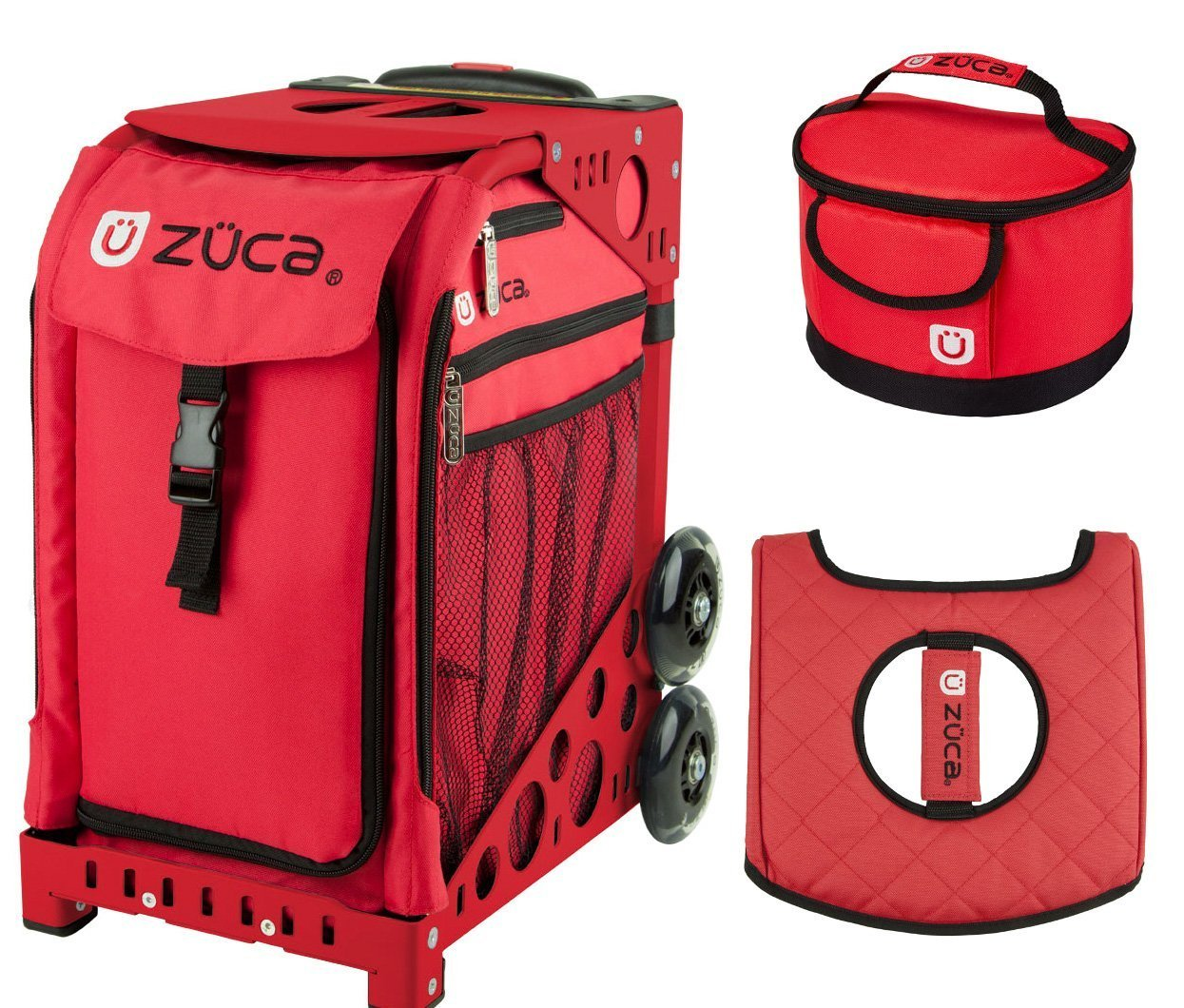 Zuca Sport Bag - Chili with Gift Lunchbox and Seat Cover (Red Frame) by ZUCA