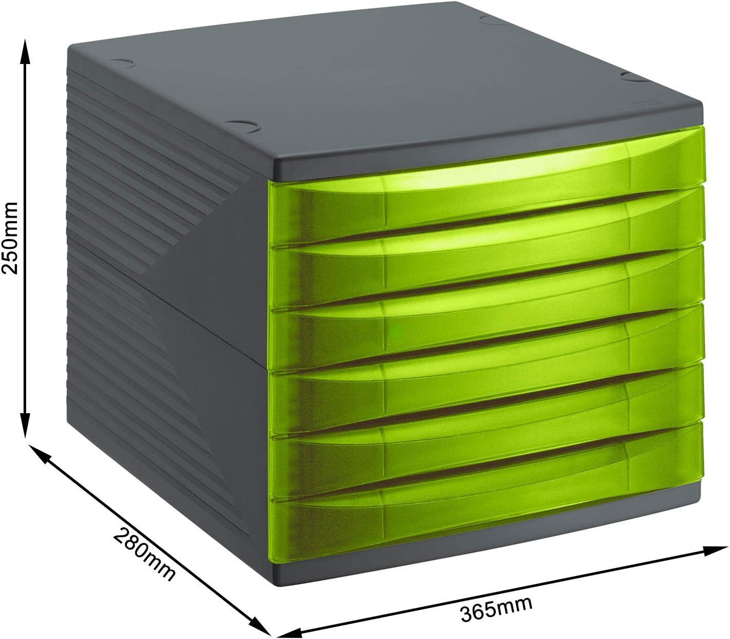 Rotho Quadra, Cajón, caja de oficina con 6 cajones, Plástico PP sin BPA, verde, antracita, 36.5 x 28.0 x 25.0 cm: Amazon.es: Hogar