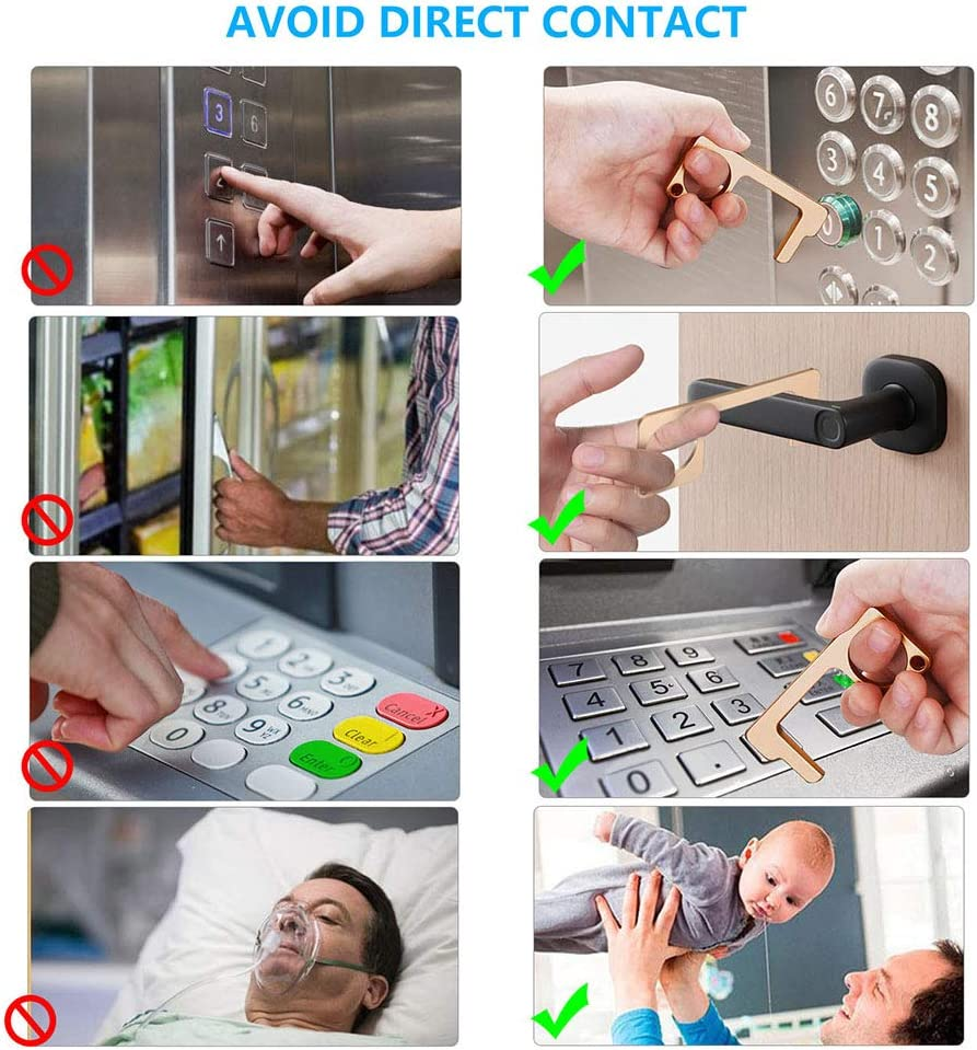 Leebote No-Touch Door Opener Closer Portable Reusable Stick for Push The Elevator Button Key-Chain 4 Pcs Keep Hands Clean