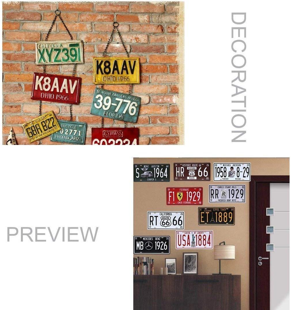 M/étal Shinewe Plaque d/'immatriculation vintage en m/étal pour d/écoration d/'int/érieur ou de bar; 15/x 30/cm 15x30cm italie