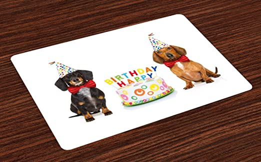 Excellent Amazon Com Ambesonne Dachshund Place Mats Set Of 4 Couple Of Bow Funny Birthday Cards Online Unhofree Goldxyz