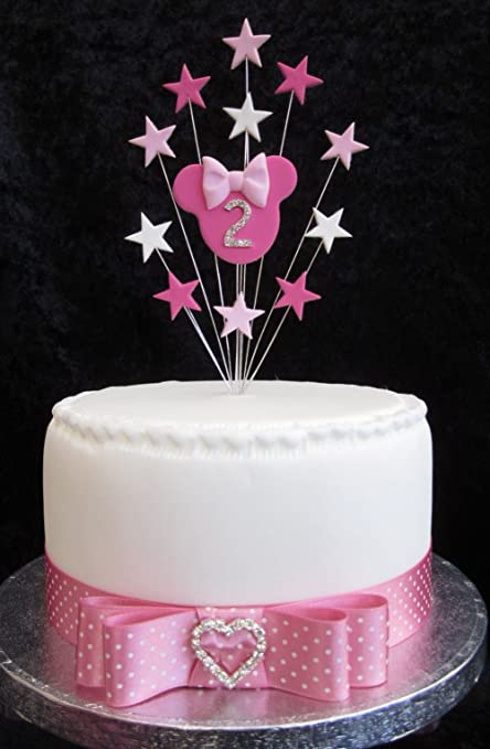 2nd Birthday Cake Topper Minnie Mouse With Stars Suitable For A Small Or Cupcake Amazoncouk Kitchen Home
