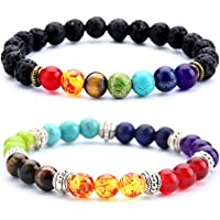 Doitory Men Women 8mm Lava Rock 7 Chakra Essential Oil Charms Bracelet Elastic Natural Stone Yoga Beads Bracelet Bangle…