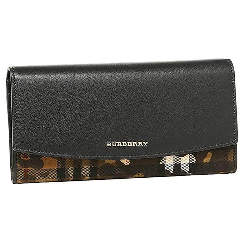 バーバリー 財布 レディース BURBERRY 3996533 70500 ホースフェリーチェック&カモフラージュ HORSEFERRY CHECK 長財布 HONEY/BLACK [並行輸入品] B01F8DQ30E
