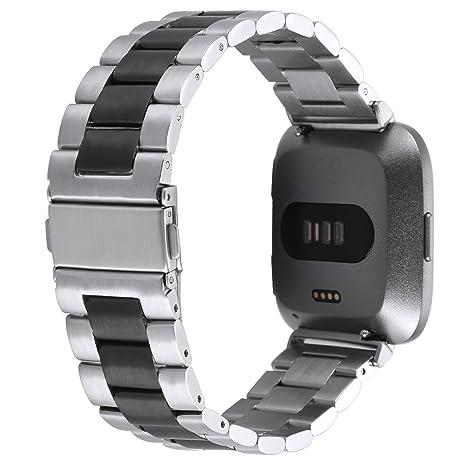Banda de reloj para Fitbit Versa Straps pulsera acero inoxidable ...