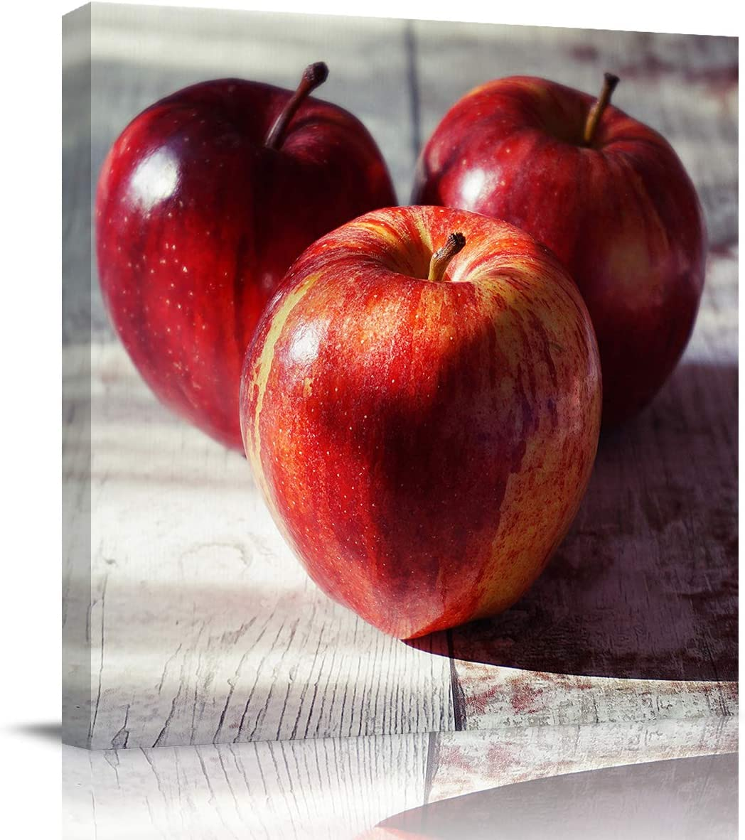 GreaBen Square Canvas Wall Art Modern Painting for Living Room Bedroom Home Decor,3D Red Apple Fruits Pattern Artworks for Wall,Stretched by Wooden Frame,Ready to Hang,12 x 12 Inch