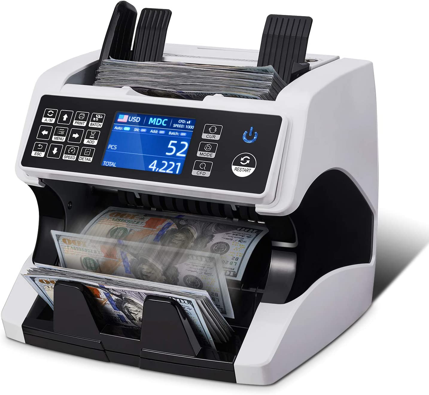 MUNBYN Bank Grade Money Counter Machine Mixed Denomination, Value Counting, Serial Number, Multi Currency, PC/Printer Enabled 11 Counterfeit Detection Cash Counter Machine with Bill Recognizes : Office Products