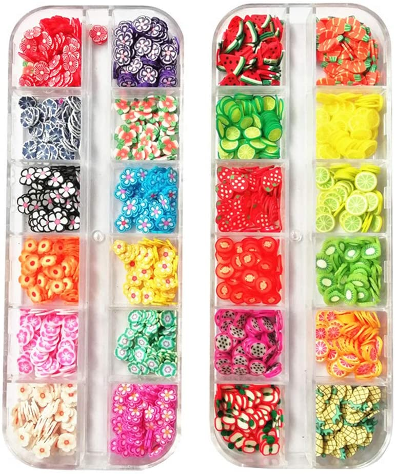 AKOAK 2 boxes of 12 Small Latticel Crystal Mash Clay Strip Flowers Fruit Slices Apples, Strawberries, Blueberries, Watermelons and more Nail Crafts Making, Decorations Scrapbook DIY Crafts (Multi-Color Fruit/Flowers)