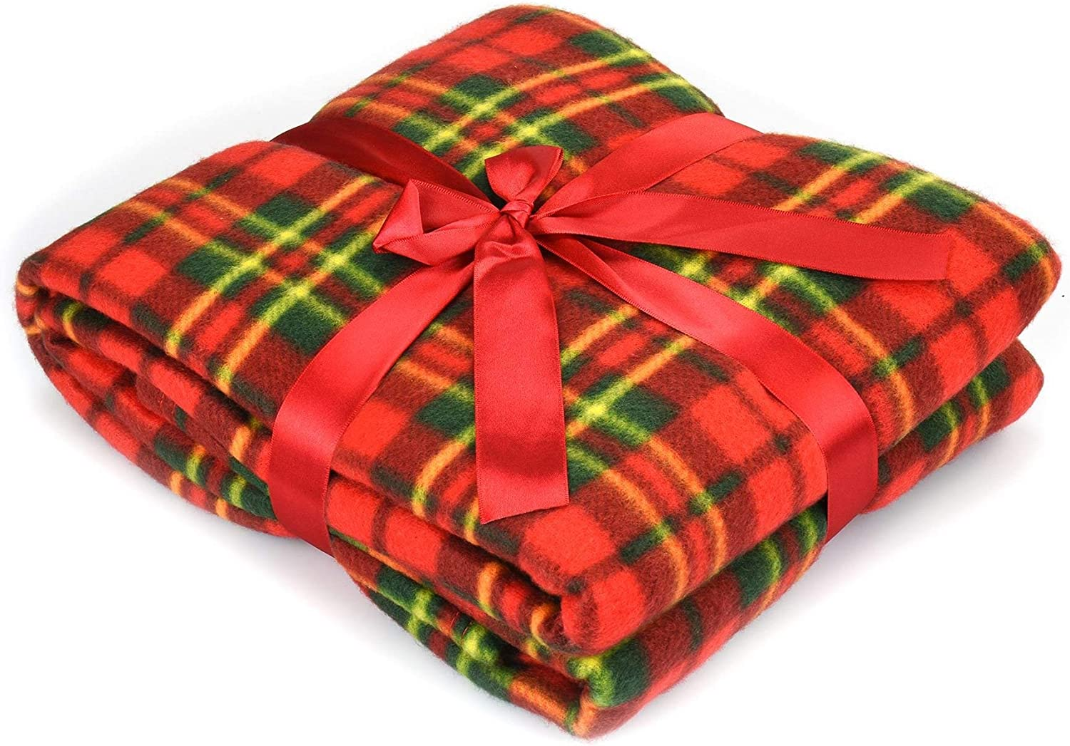 Soft and Warm Tartan Check Printed Fleece Throw for Sofa Bed Travel Car Blanket 120x150cm Red