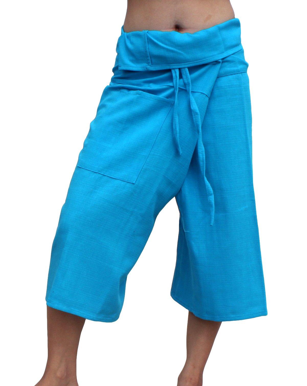Raan Pah Muang RaanPahMuang Brand Thick Line Cotton Thai Fisherman Capri Wrap Pants, Large, Medium Blue by Raan Pah Muang