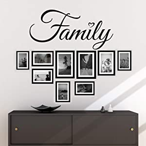 Family Wall Decal Quotes Sayings Family Words Sing Decor for Living Room Wall Art Lettering Vinyl Stickers (10Hx22W inches Matte Black)