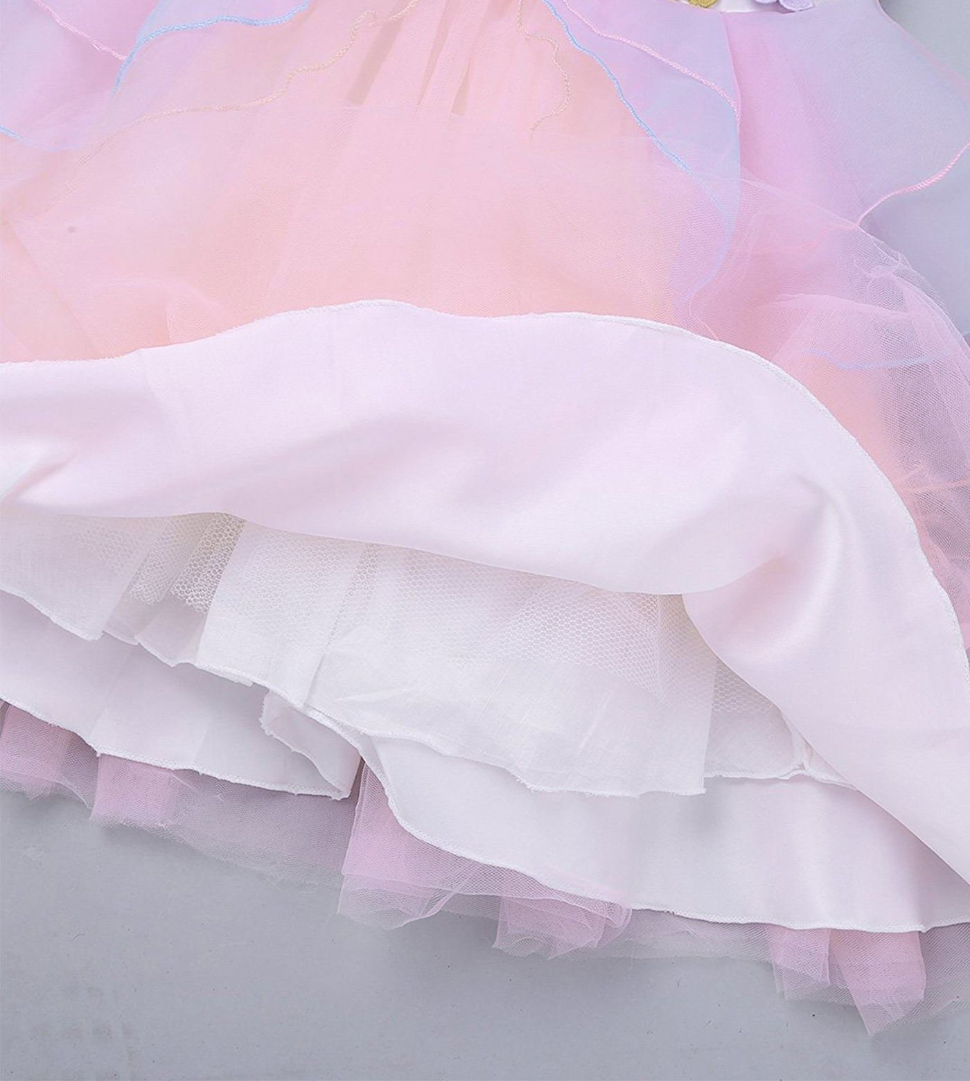 TTYAOVO Kids Unicorn Costume Dress Girl Princess Flower Pageant Party Tutu Dresses Size 5-6 Years Pink by TTYAOVO (Image #6)