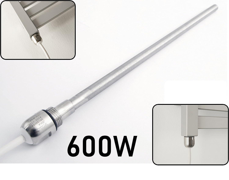 Terma - Glissière pour sèche-serviette électrique ou radiateur de 100 à 1000 W - Glissière chromée - Kit de conversion - Raccord en T disponible, acier inoxydable, 100W WITH T PIECE