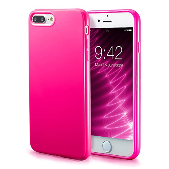 huge discount e8f1d a1527 iPhone 7 Plus Pink Case/iPhone 8 Plus Pink Case, technext020 Shockproof  Ultra Slim Fit Silicone TPU Soft Gel Rubber Cover Shock Resistance  Protective ...