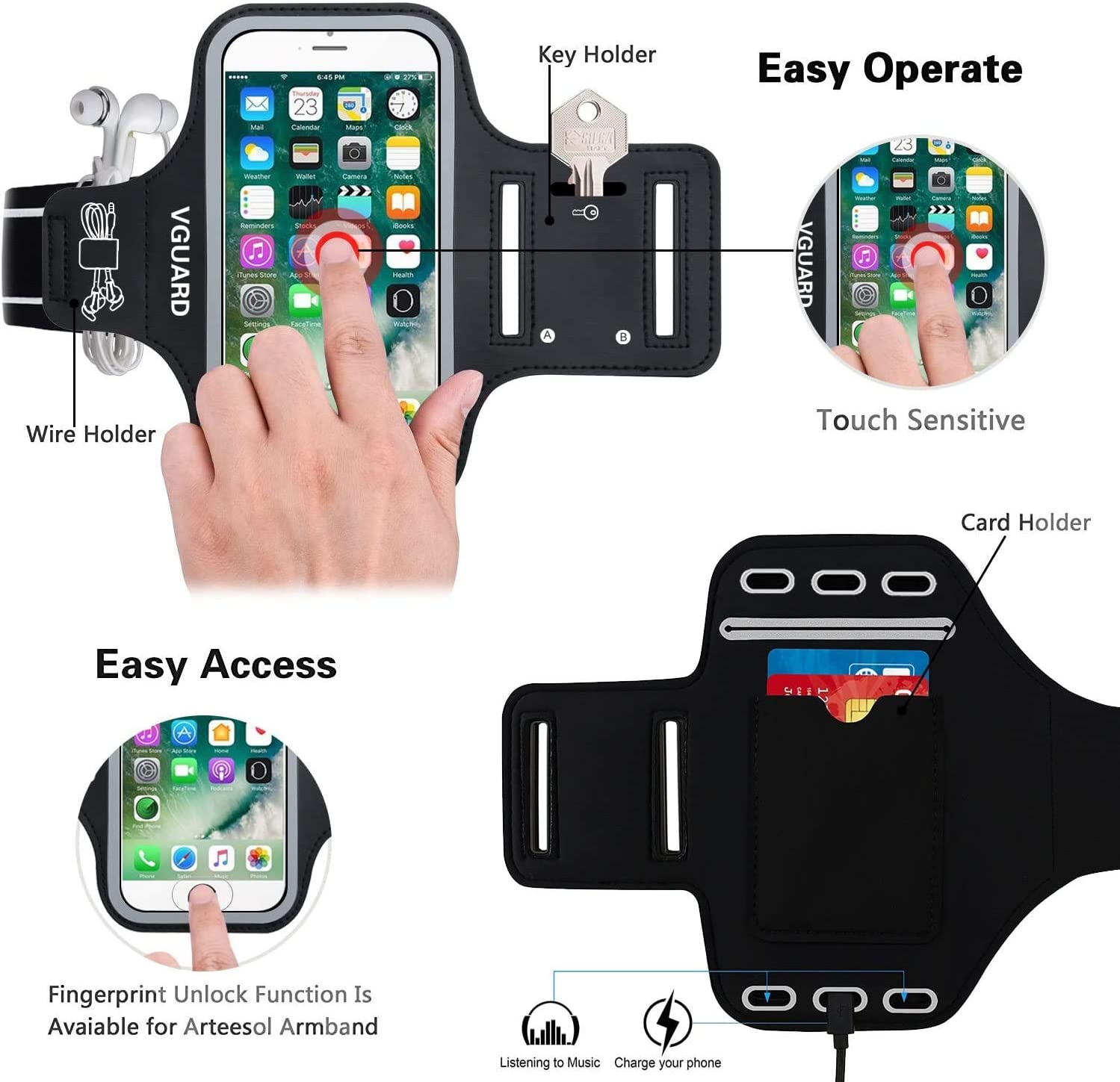 VGUARD Sports Armband Cards for iPhone Green Huawei Asus Nokia and Other Phones Less Than 6.5 Inches Samsung Galaxy 6.5 Inch Sports Anti-Slip Armband Case with Key Holder