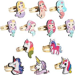 Mwoot 12 Anelli di Metallo, Anello di Unicorno Regali per Feste di Compleanno per Festa di Unicorno