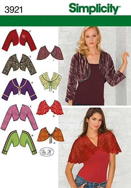 Amazon.com: Simplicity Sewing Pattern 3921 Misses Boleros and ...