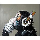 Fokenzary 手塗りの油彩画キャンバス ポップアート ヘッドホンで音楽を聴くクールな猿 フレーム付き すぐに掛けられる 50x60cm