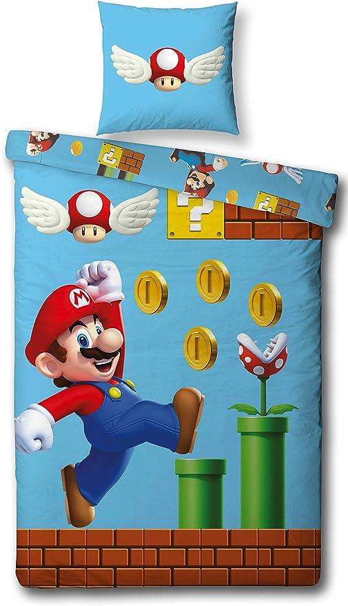 70 x 90 cm Halantex Super Mario Bros Parure de lit 140 x 200 cm