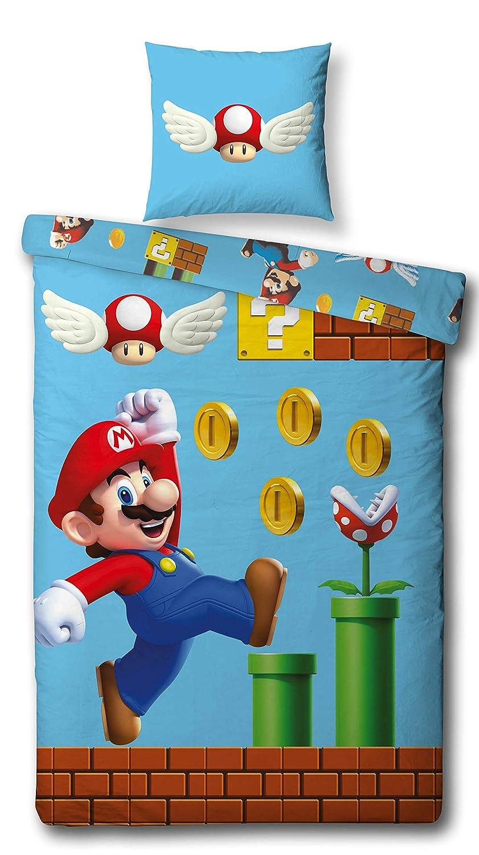 Character World Reversible Juego de Cama Super Mario, 135 x 200 cm 80 x 80 cm, 100% algodón, Games, 100% algodón, 100% Algodón Linon, Azul, 135 x 200 ...